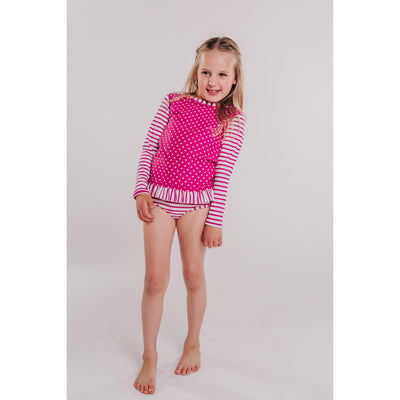 Little Girls Rashguard Bikini Berry Striped Polka-OneTrail Gear