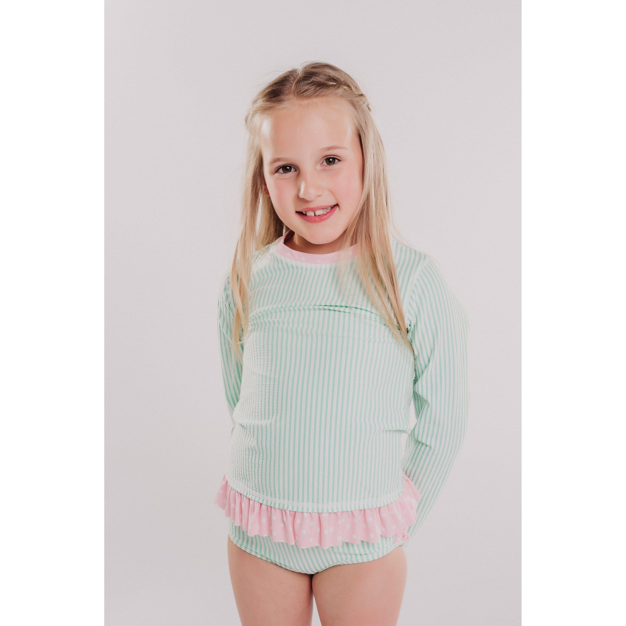 Little Girls Rashguard Bikini Mint Seersucker-OneTrail Gear