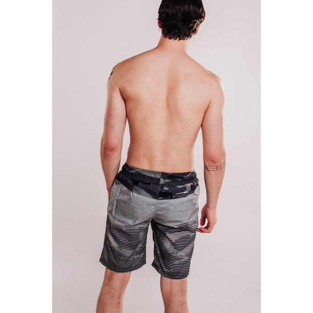 Mens Patterned Beach Shorts Black-OneTrail Gear