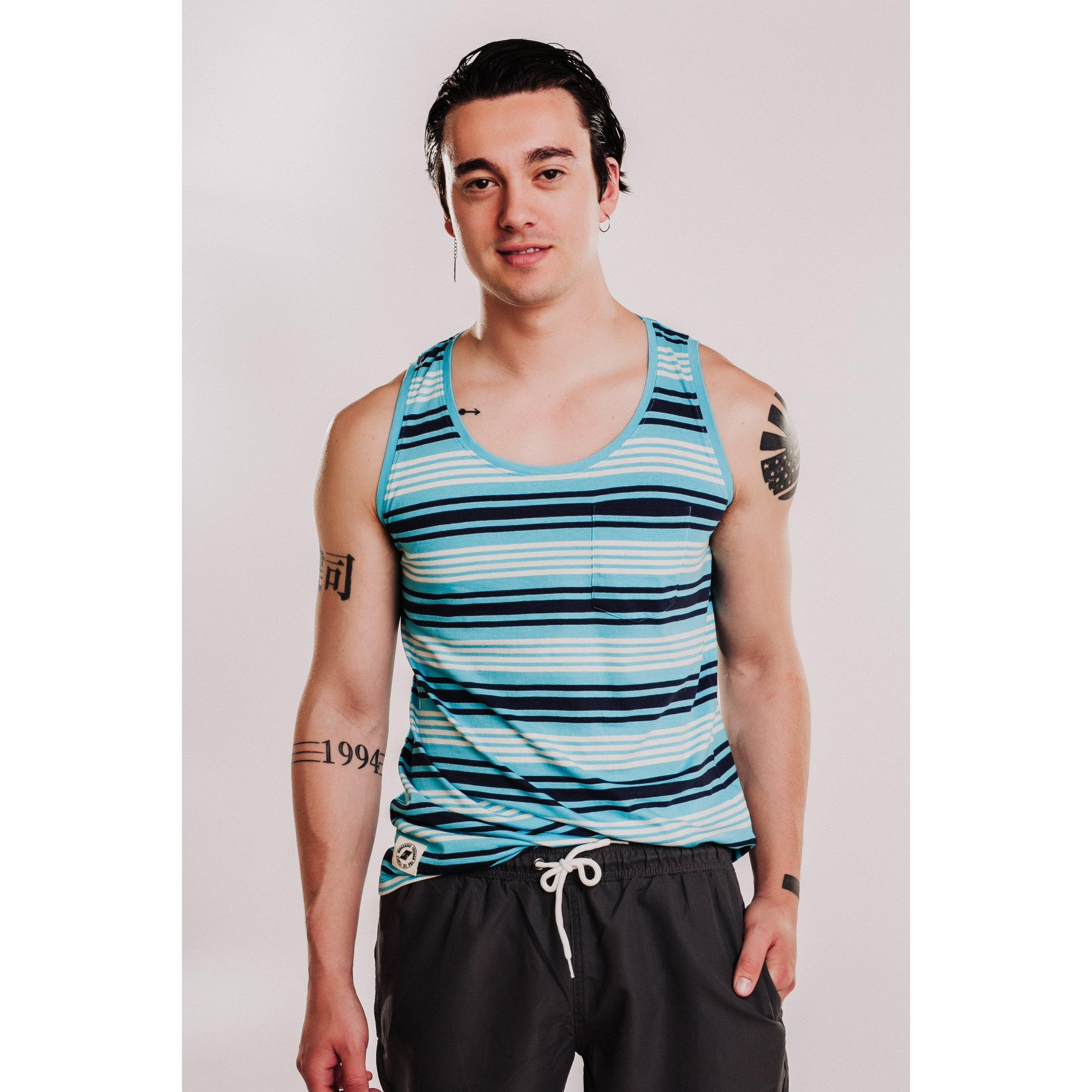 Mens Relaxed Fit Striped Tank - Blue-OneTrail Gear
