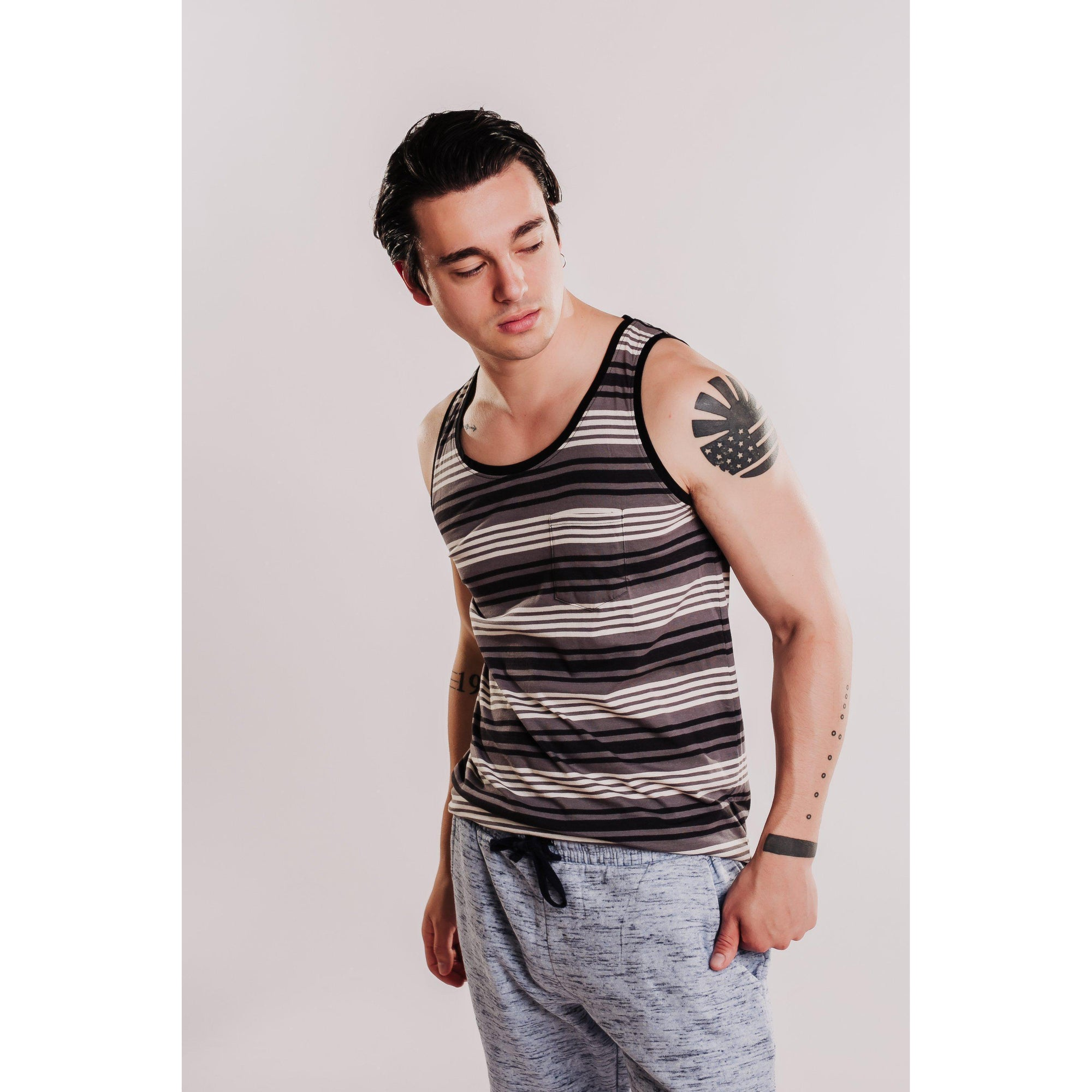 Mens Relaxed Fit Striped Tank - Charcoal-OneTrail Gear