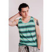 Mens Relaxed Fit Striped Tank - Mint-OneTrail Gear
