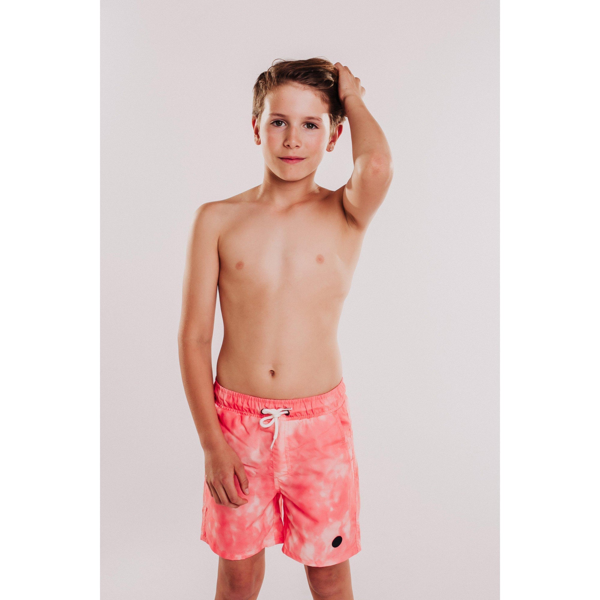 Boys Tie Dye Beach Short (Coral)-OneTrail Gear