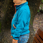 Toddler Front Zip Light Weight Jacket | Unisex | Heathered Navy Blue & Sunny Orange-OneTrail Gear