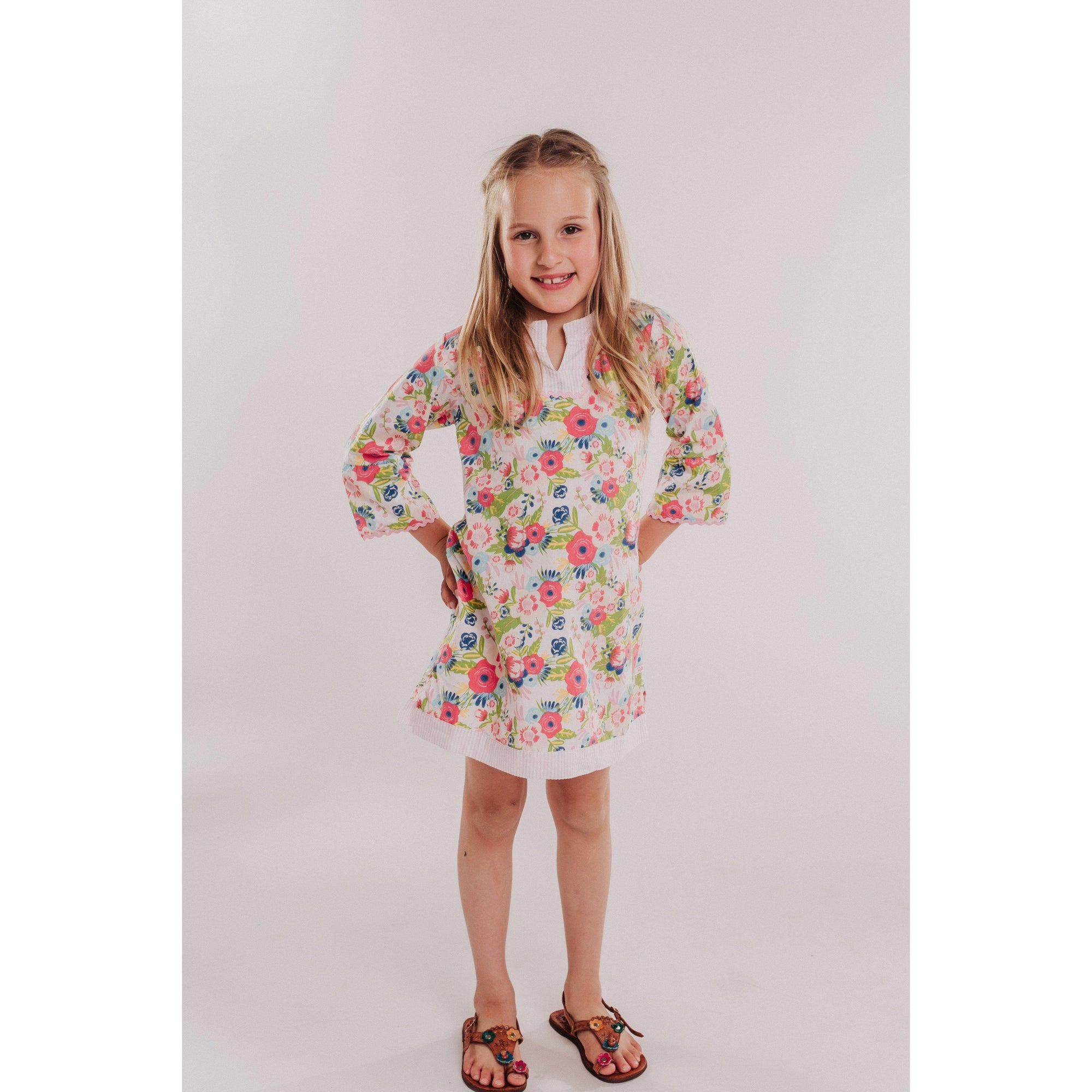 Toddler & Little Girls Swim Cover-Up - English Garden with Seersucker-OneTrail Gear