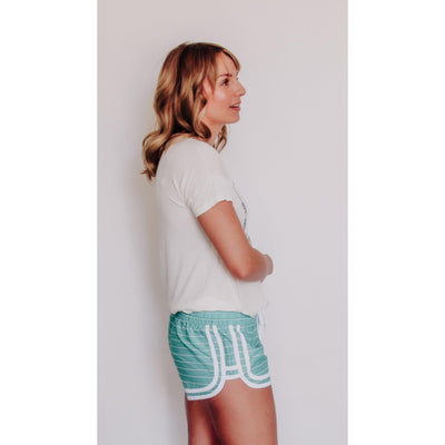 Women's Striped Beach Short With Elastic Waist Jade-OneTrail Gear