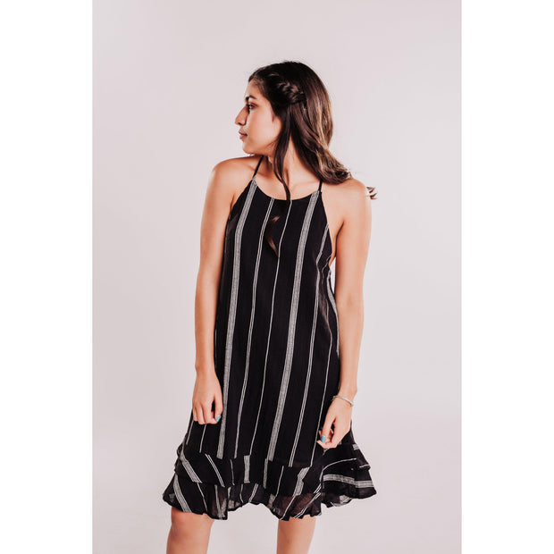 Women's Striped Halter Dress With Ruffle Hem - Black-OneTrail Gear