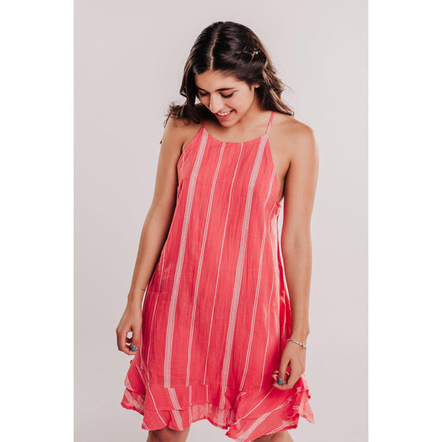 Women's Striped Halter Dress With Ruffle Hem - Coral-OneTrail Gear