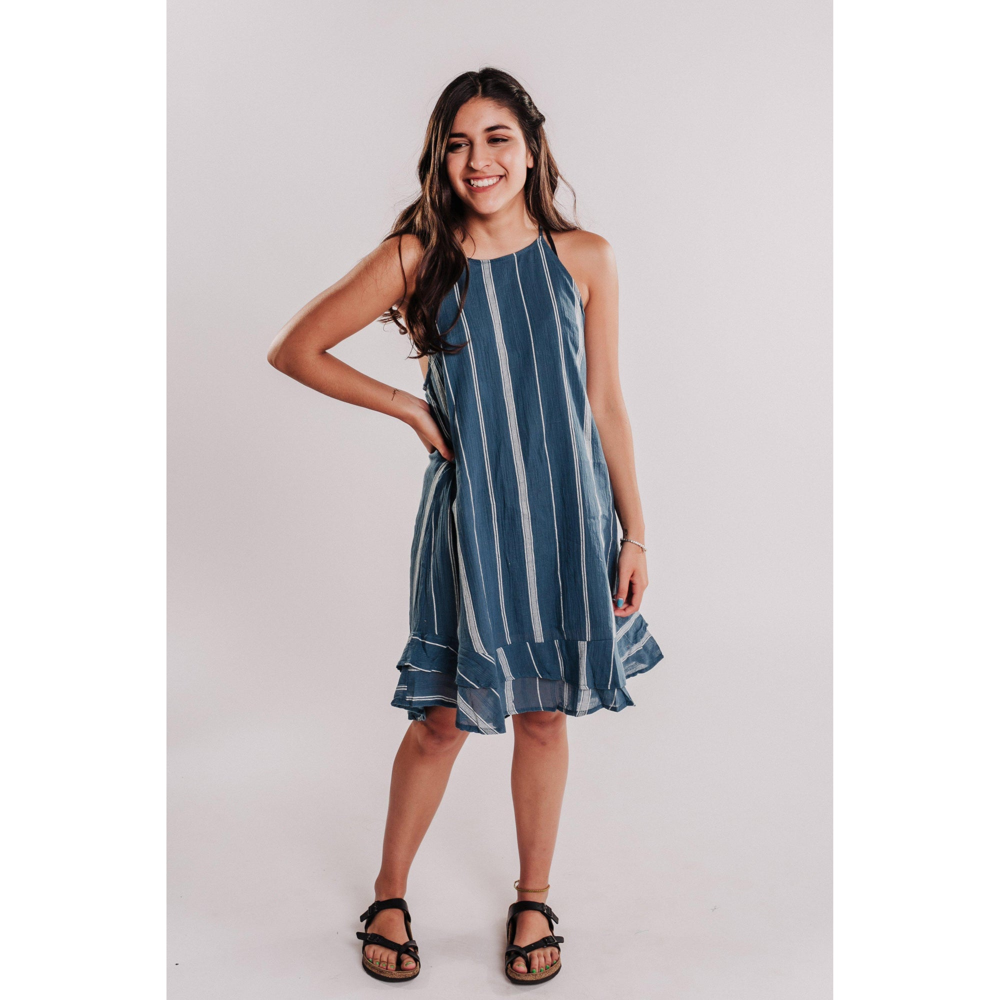 Women's Striped Halter Dress With Ruffle Hem - Denim-OneTrail Gear