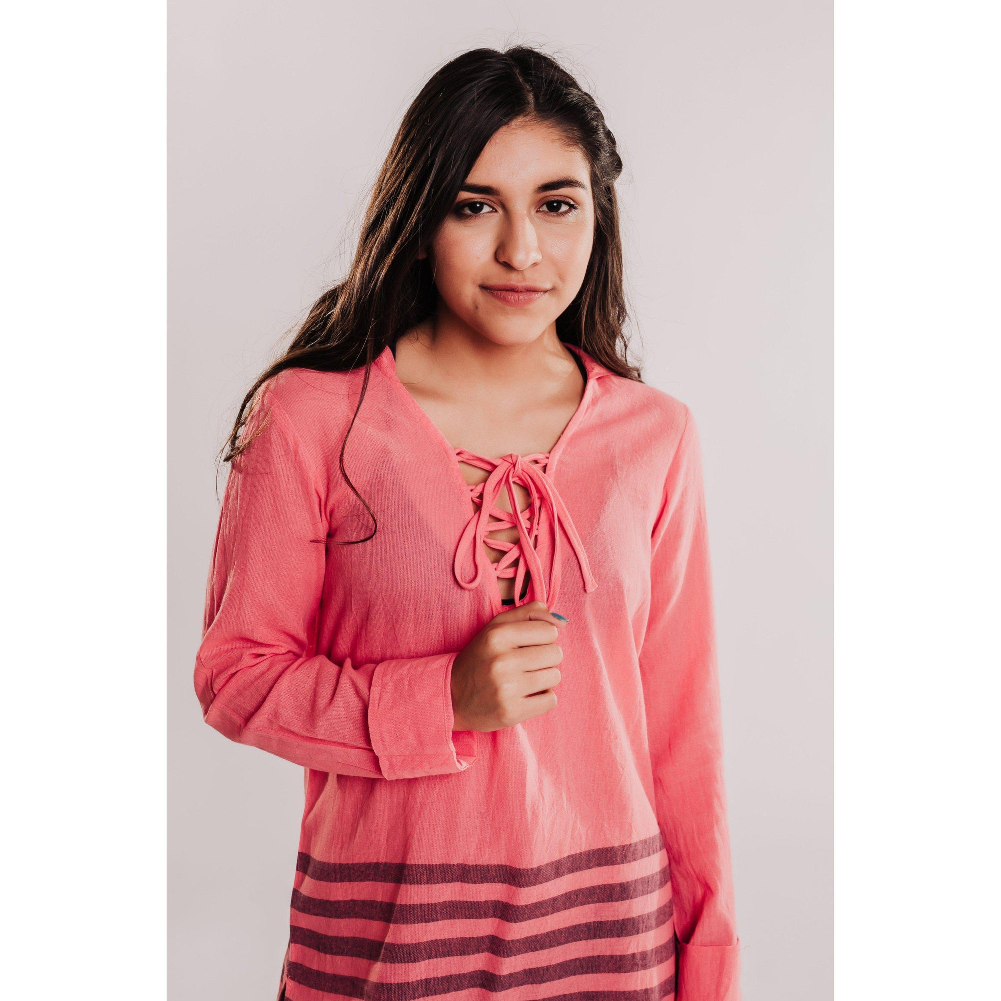 Women's Striped Long Sleeve Hooded Coverup - Coral-OneTrail Gear