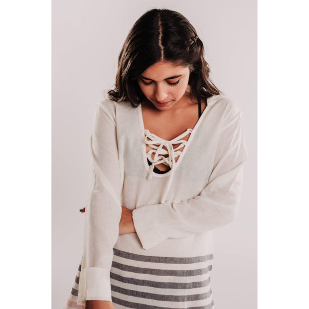 Women's Striped Long Sleeve Hooded Coverup - White-OneTrail Gear