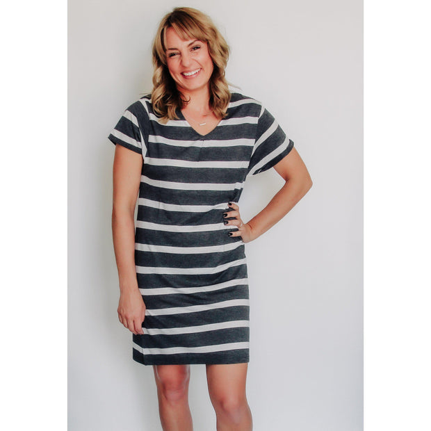 Women's Striped T-Shirt Dress With Interlaced Back Black-OneTrail Gear