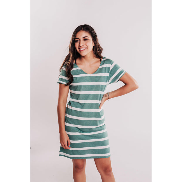 Women's Striped T-Shirt Dress With Interlaced Back-OneTrail Gear