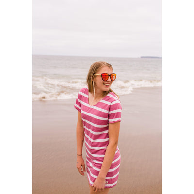 Women's Striped T-Shirt Dress With Interlaced Back Rose-OneTrail Gear