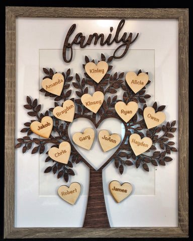 Family tree in wooden frame - Minutes 2 Memories