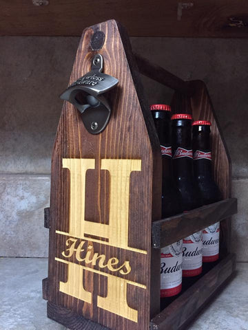 Rustic bottle caddy with bottle opener - Minutes 2 Memories