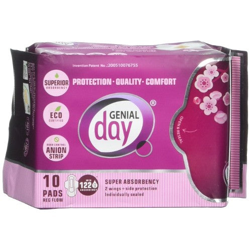 Genial Day Eco-certified Regular Flow Pads with Anion Strip - 10 ct