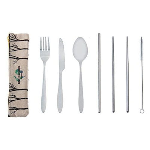 Conscious Cutlery -Trees Travel Cutlery Set with Hemp Pouch