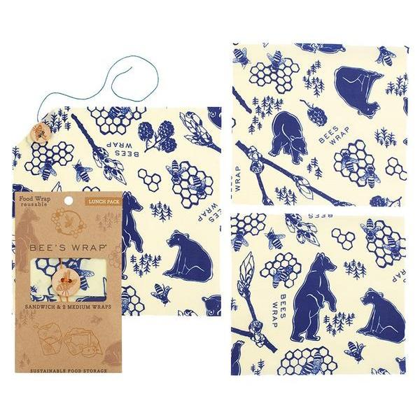 Lunch Pack (1 sandwich & 2 medium) in Bees & Bears Print