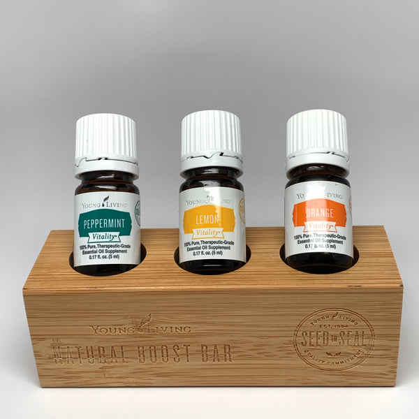 3 5ml Young Living Essential Oils Peppermint Lemon Orange plus bamboo holder