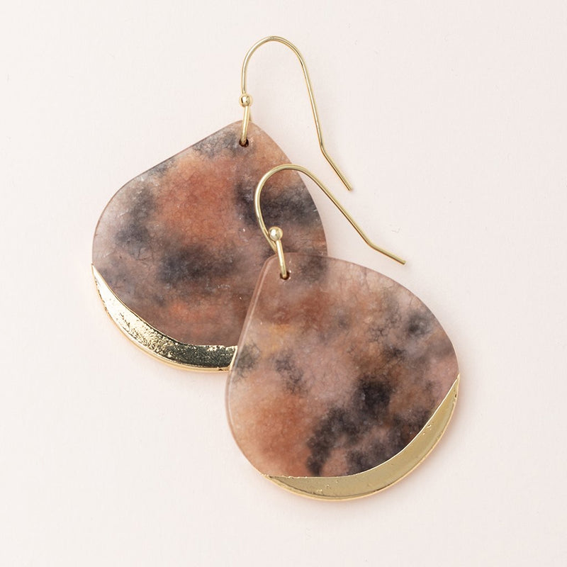 Stone Dipped Teardrop Earring - Pink Agate/Gold