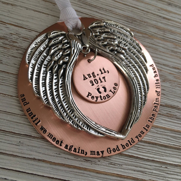 Large Copper Hand Stamped Memorial Ornament - SoulCysterCreations