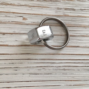 Chrome Nut Hand Stamped Keychain