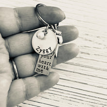 Load image into Gallery viewer, I Carry Your Heart With Me Hand Stamped Keychain