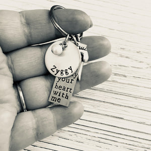 I Carry Your Heart With Me Hand Stamped Keychain