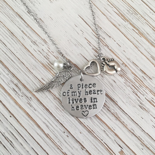 Piece of my Heart Lives In Heaven Hand Stamped Memorial Necklace