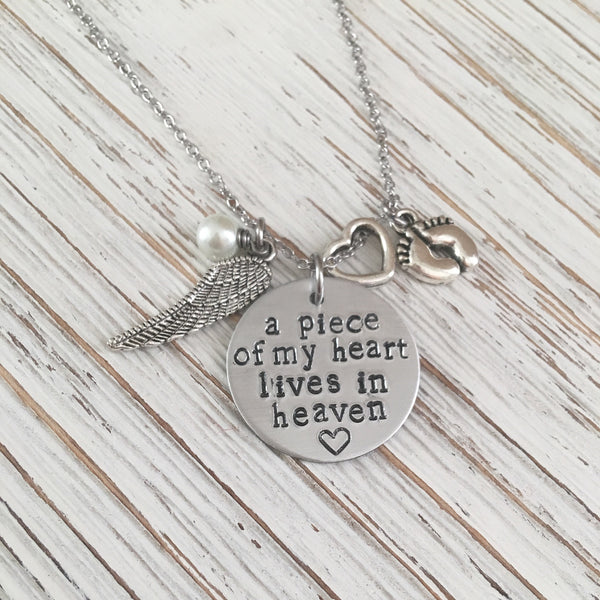 Piece of my Heart Lives In Heaven Hand Stamped Memorial Necklace - SoulCysterCreations