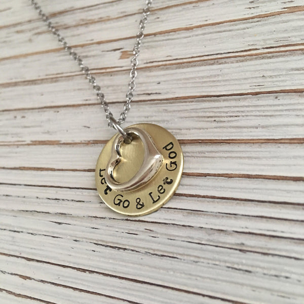 Let Go & Let God Hand Stamped Necklace - SoulCysterCreations