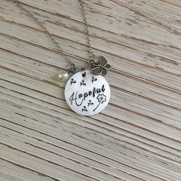 Hopeful Hand Stamped Necklace - SoulCysterCreations