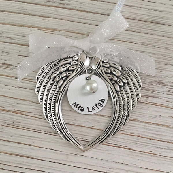 Hand Stamped Angel Wing Ornament - SoulCysterCreations