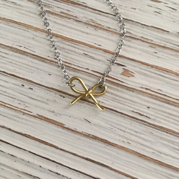 Until You Come Home Bow Necklace - SoulCysterCreations