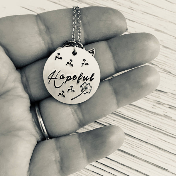 Hopeful Hand Stamped Necklace