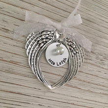 Load image into Gallery viewer, Hand Stamped Angel Wing Ornament