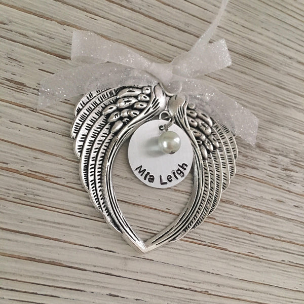 Hand Stamped Angel Wing Ornament