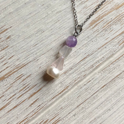 Shape Stacked Fertility Stone Necklace - SoulCysterCreations