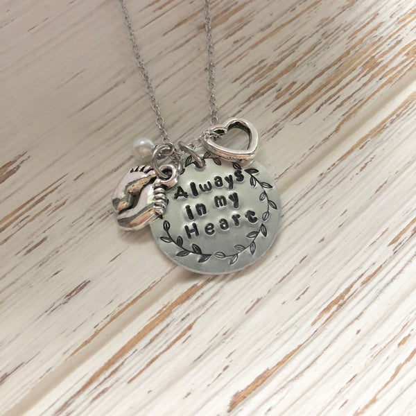Always in my Heart Memorial Hand Stamped Necklace