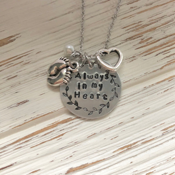 Always in my Heart Memorial Hand Stamped Necklace - SoulCysterCreations