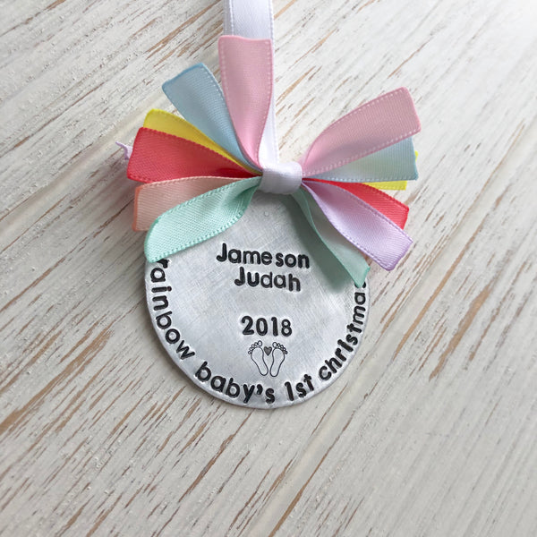 Rainbow Baby's First Christmas Ornament - SoulCysterCreations