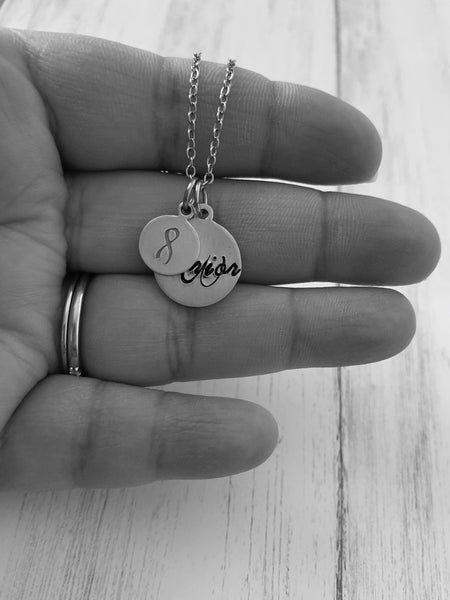 Hand Stamped Warrior Awareness Ribbon Necklace