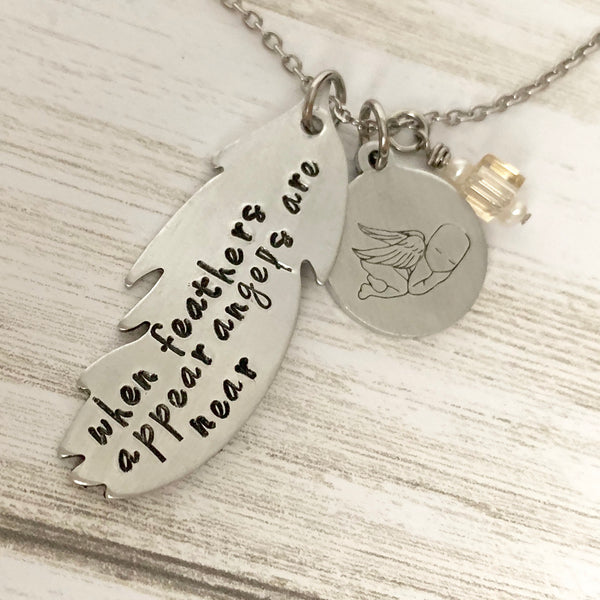 When Feathers Appear Angels are Near Necklace - SoulCysterCreations