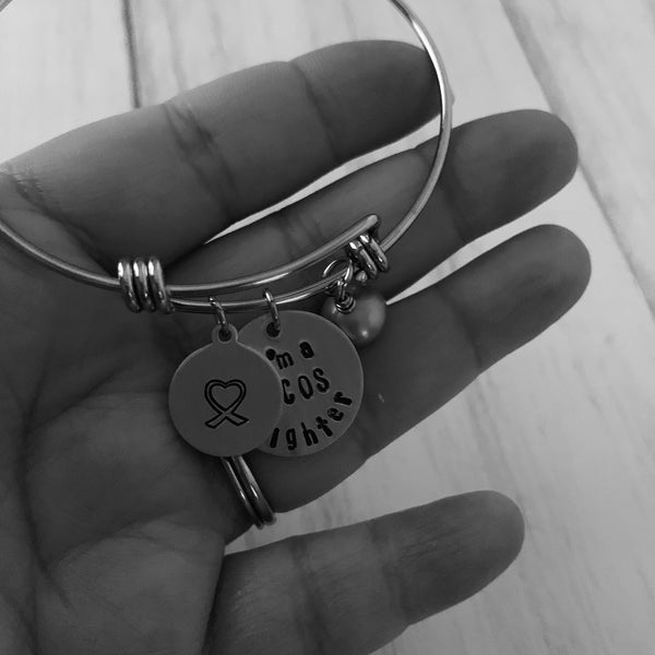 I'm A PCOS Fighter Adjustable Bangle Bracelet