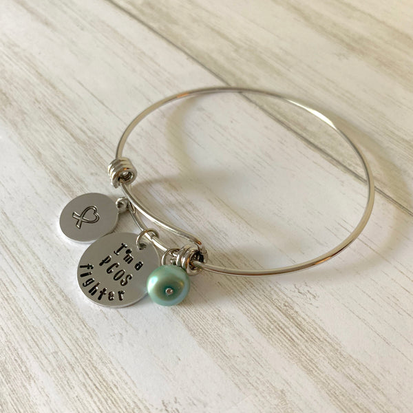 I'm A PCOS Fighter Adjustable Bangle Bracelet - SoulCysterCreations