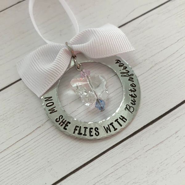 Now They Fly With Butterflies Memorial Ornament - SoulCysterCreations