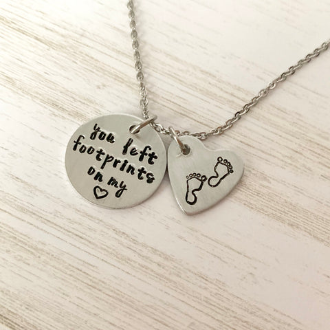 You Left Footprints on my Heart Necklace