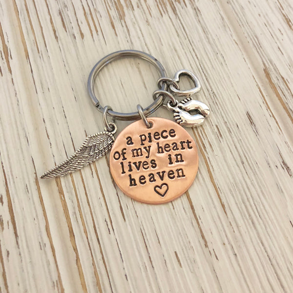 A piece of my Heart Lives in Heaven Keychain - SoulCysterCreations
