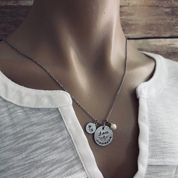 """I am a warrior"" Infertility Necklace - SoulCysterCreations"